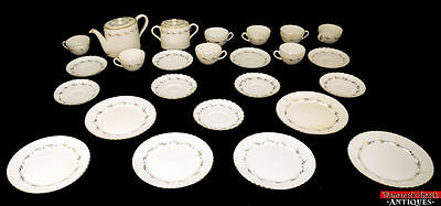 VTG 25pc Fondeville England China Set Blue Dot Gold Leaf Embassy Ware Radford SR