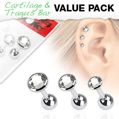 Value Pack of Clear Assorted Cartilage / Tragus Bars with Set Gem Tops
