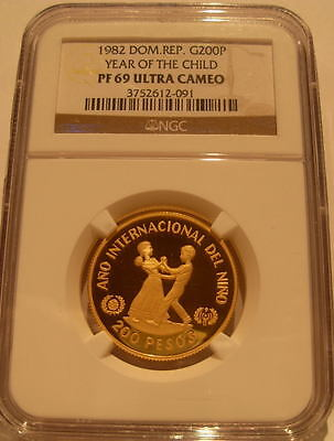 Dominican Republic 1982 Gold 200 Pesos NGC PF-69UC Year of The Child