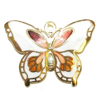 P2645p White Butterfly 29x21mm Gold Brass Cloisonne Pendant Beads 2/pkg