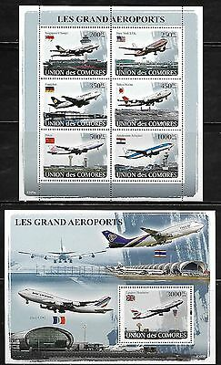 Comoro Islands 1007-8 Aircraft and Airports Mint NH