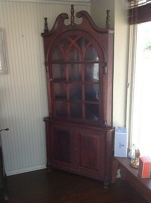 "Vintage Antique Large 88"" Cherry Wood 2 Piece Glass Front Corner Cabinet"