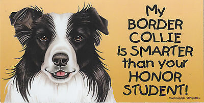 My BORDER COLLIE is SMARTER than your HONOR STUDENT car/fridge MAGNET 4X8