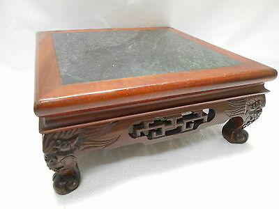 Vintage Ikebana Tray Bonsai Stand  Rosewood and Marble Japanese Traditional #82
