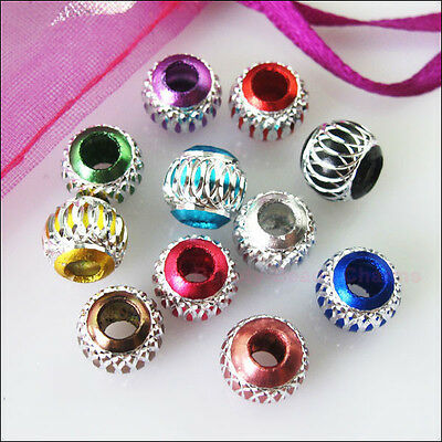 40 New Charms Mixed Silver Carved Lantern Aluminium Spacer Beads 6mm