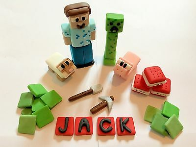 Minecraft Creeper TNT Set edible (any Name ) Cake Topper Icing Decoration