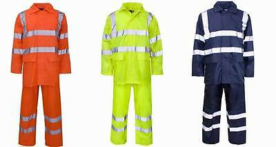 High Visibility RAINSUIT MENS WOMENS HOODED PUDDLE WATER PROOF WORK RAIN Suit