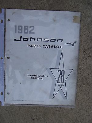1962 Johnson 28 HP Sea Horse RX RXL 10C Outboard Parts Catalog MORE IN STORE  L