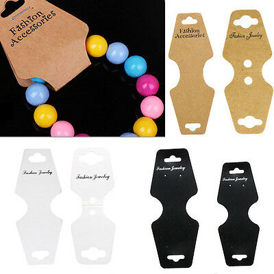 100Pcs Jewelry Necklace Bracelet Hanging Holder Jewerly Display Paper Cards