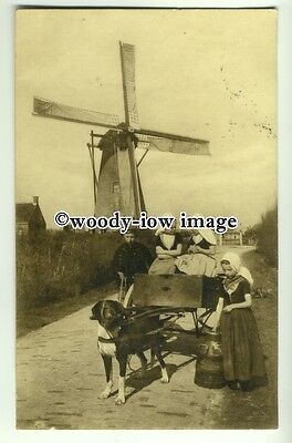 an0188 - Dog with a Milk Cart, & Girls working, by Windmill c1910 - postcard