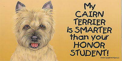 My CAIRN TERRIER (TAN) is SMARTER than your HONOR STUDENT car/fridge MAGNET 4X8