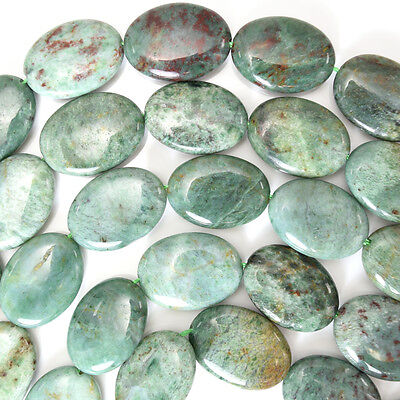 "22mm green dragon blood jasper flat oval beads 16"" strand"
