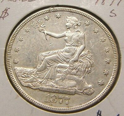 1877-S~~Trade Silver Dollar~~Au~~Beauty