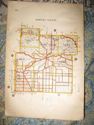 Antique 1917 Allen Whitley County Indiana Highway Road Map Railroad Fort Wayne N