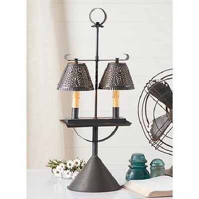 Double Student Light w/Willow Shades ~ Metal ~ Tin ~ Rustic ~ Primitive~Lamp