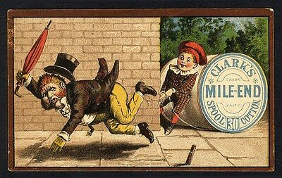 CLARK'S MILE END Spool Cotton Trade Card - Man Being Tripped by Thread 1880's