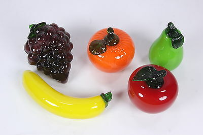 5 Pieces Colorful Art Glass Fruit Pear, Orange, Grape Cluster, Banana & Apple