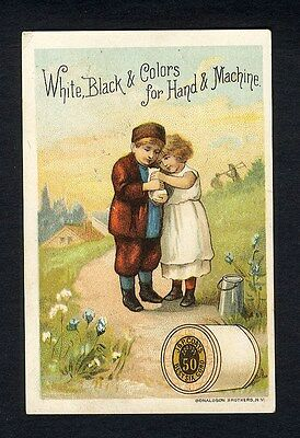 Children and Kitten J & P COAT'S Thread Spool Cotton Victorian Trade Card 1880's
