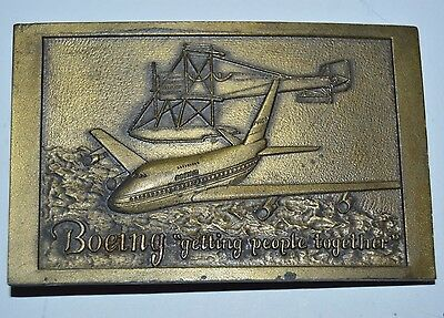 "WOW Vintage BOEING ""Getting People Together"" Airlines Aviation Belt Buckle Rare"