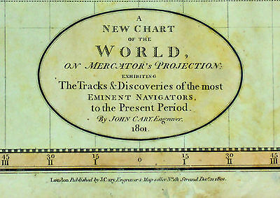 1801 Antique Map Chart John Cary World Color Folio
