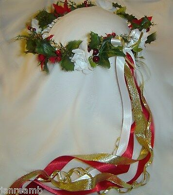 Christmas Rose Head Wreath Hand Crafted /Renaissance/Wedding/ Holiday Party Wear