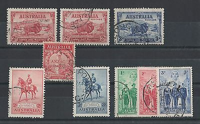 1935 Australia  Selection of 9 used stamps