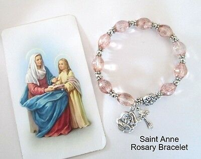 Saint St. ANNE Rosary Bracelet Medal Holy Card & crucifix Mother Grandmothers