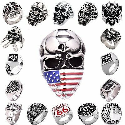 Men's 316L Silver Stainless Steel Cool Motorcycle Rings Biker Jewelry US 7-15