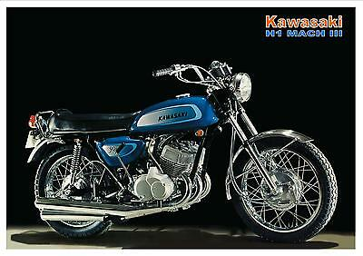 KAWASAKI Poster H1 Mach III 1971 H1A 500 Suitable to Frame