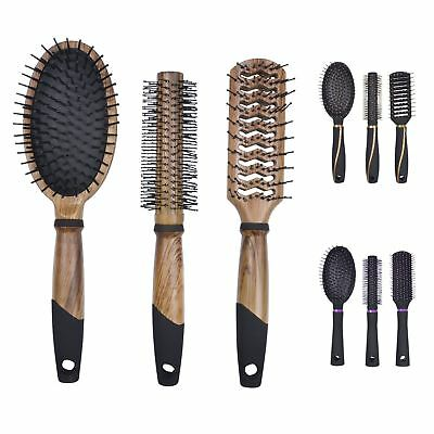 3pc Professional Hair Brush Set Salon High Quality Curling Vent Styling Paddle