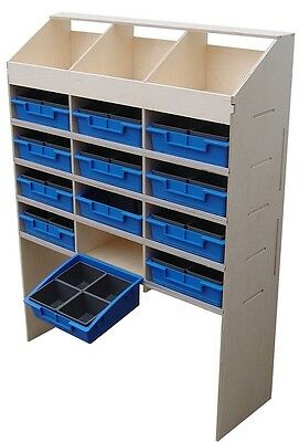 Van Guard 3 Pigeon Hole Plywood 4 Shelves With Trays Racking Storage Unit 300mm