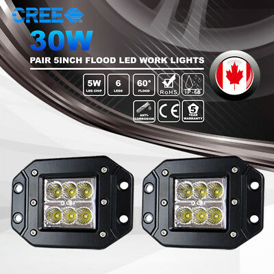 2x 5Inch Flush Mount 30W CREE LED Flood Work Light Offroad 4WD Boat SUV UTE