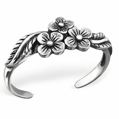 Sterling 925 Silver Toe Ring - Three Flowers Design - Boxed