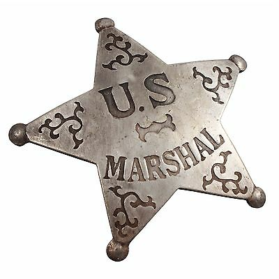 Replica Old West Novelty Badge US Marshal Solid Copper Silver Plated