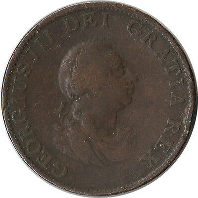 1799 Great Britain (UK) 1/2 Penny Coin George III KM#647