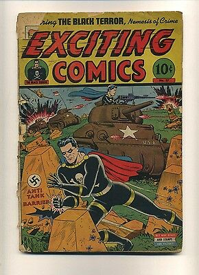 Exciting Comics 37 (FR-) Nedor/Better 1945 Nazi WWII Schomburg cover! (c#08927)