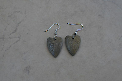 Custom made hand forged in gold damascus pair of earrings V4812