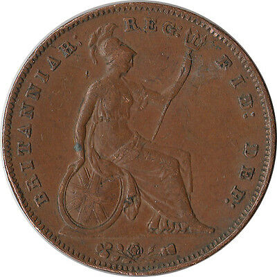 1854 Great Britain (UK) 1 Penny Large Coin Victoria KM#739