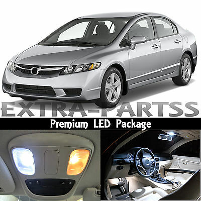 8x White Interior LED Light Package Kit Dome 2006-2012 Honda Civic Sedan Coupe
