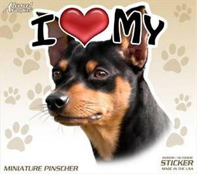 "I Love My Min Pin Dog 4"" Car Truck Home Vinyl Sticker Decal Miniature Pinscher"