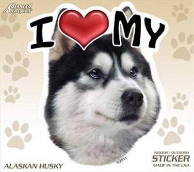"I Love My Alaskan Husky Dog 4"" Car Home Plastic Sticker Decal Siberian Malamute"