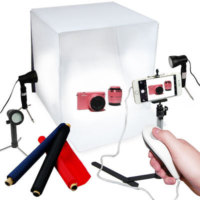 "Photo Studio 24"" Photography Light Tent Backdrop 3x LED Light Stand Kit Cube Box"