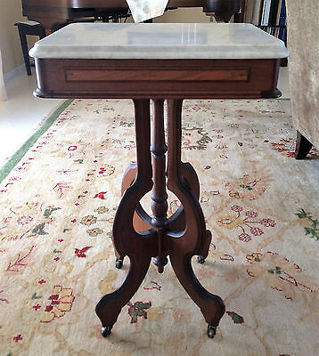 Antique Solid Walnut Victorian Marble Top Parlor Side End Table 1800's