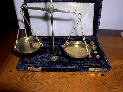 Portable Gold Gram Weighing Scales in Velvet Box - India -