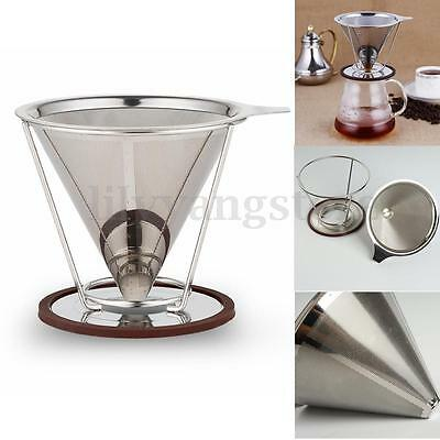 Stainless Steel Pour Over Cone Dripper Reusable Coffee Filter Paper + Cup Stand