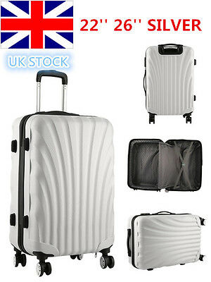 Hard Shell 4Wheel Spinner Suitcase Luggage Trolley Case Cabin Hand Silver color