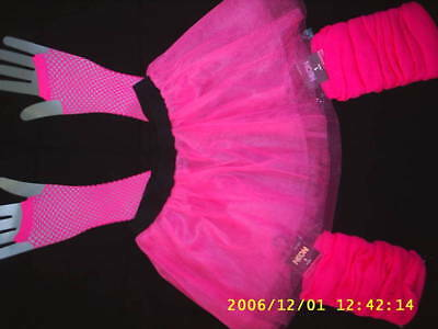 neon tutu,leg warmers and fishnet gloves set. tutus ladies fancy dress size 8/12