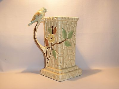 Vintage Pottery Floral Bird and Branch Jug  by Portland Pottery Cobridge PPC