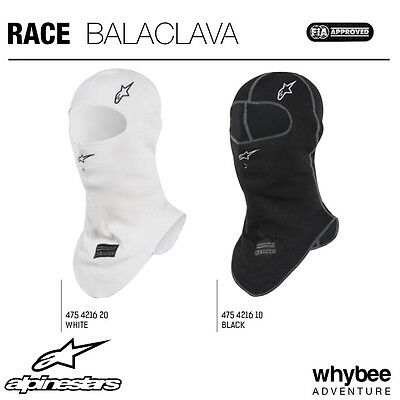4754216 Alpinestars RACE BALACLAVA Open Face Fireproof BLACK or WHITE FIA / SFI