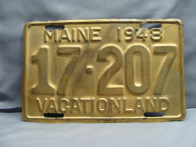 1948 All Brass Maine License Plate 17-207 Vacationland